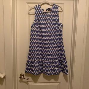 JCrew Patterned Ruffle Dress - Blue/Ivory